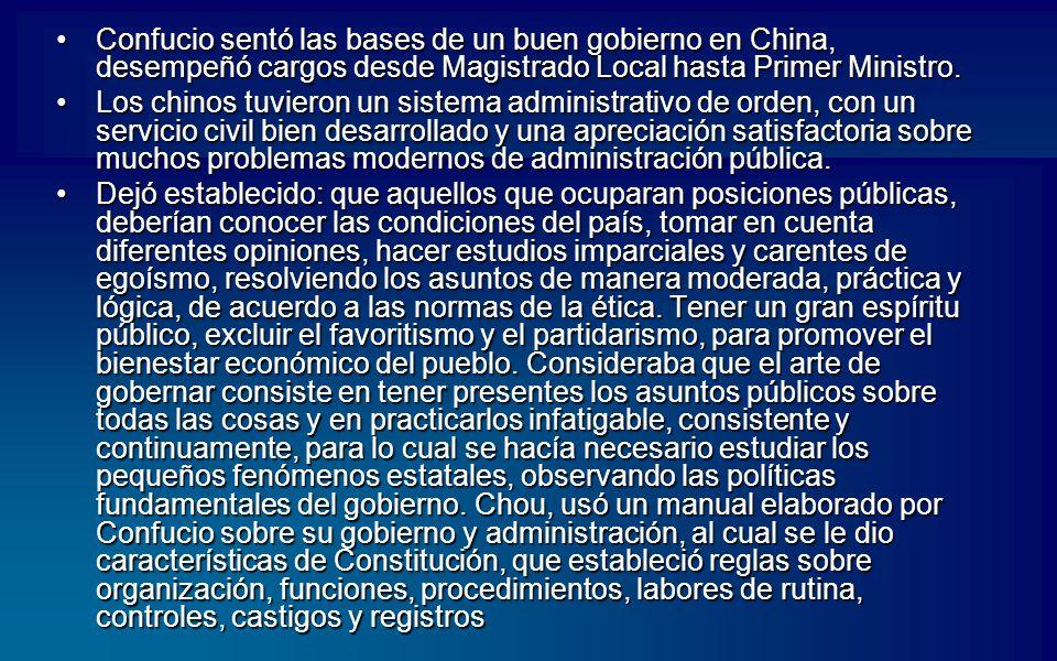 Confucio sentó las bases de un buen gobierno en China, desempeñó cargos desde Magistrado Local hasta Primer Ministro.