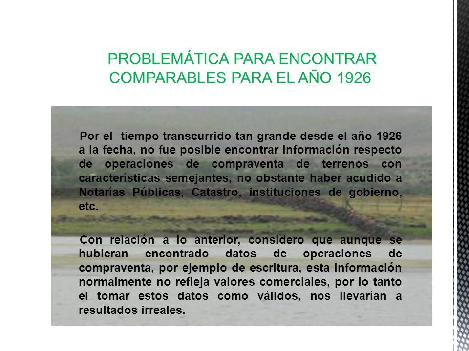 PROBLEMÁTICA PARA ENCONTRAR COMPARABLES PARA EL AÑO 1926