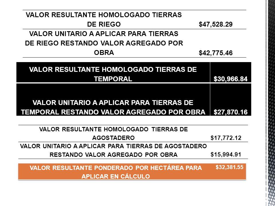 VALOR RESULTANTE HOMOLOGADO TIERRAS DE RIEGO $47,528.29