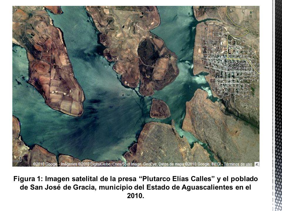 Figura 1: Imagen satelital de la presa Plutarco Elías Calles y el poblado de San José de Gracia, municipio del Estado de Aguascalientes en el 2010.