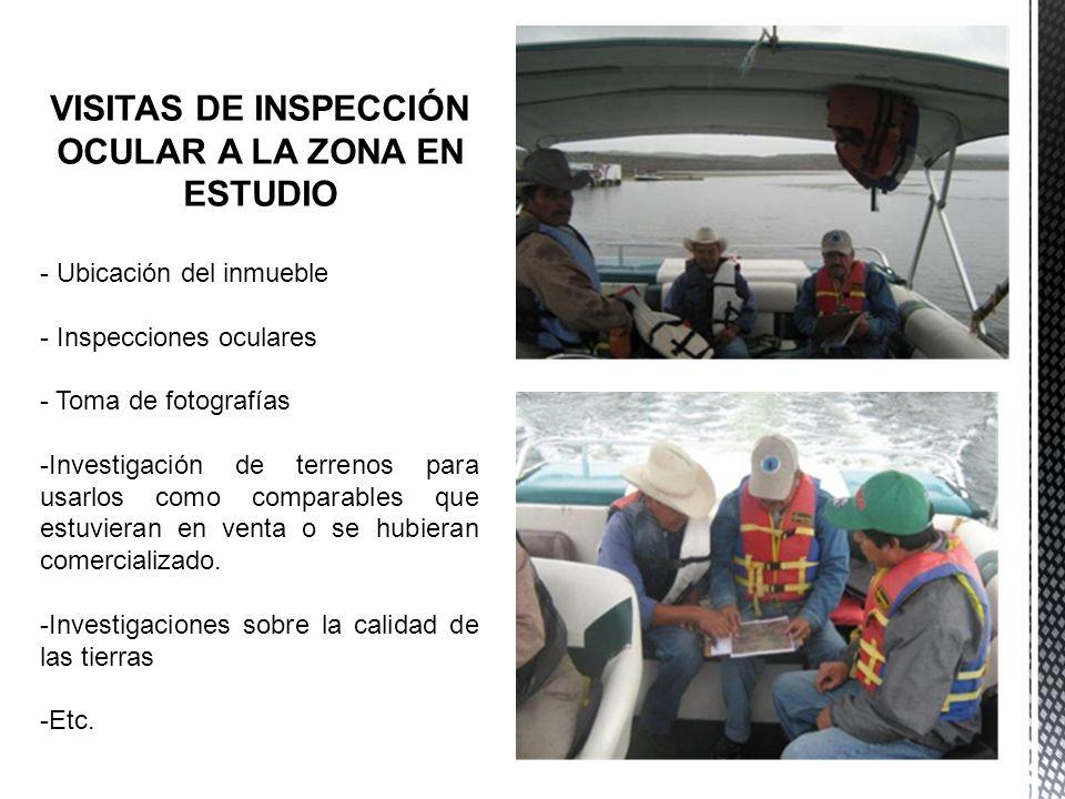 VISITAS DE INSPECCIÓN OCULAR A LA ZONA EN ESTUDIO