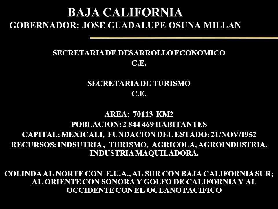 BAJA CALIFORNIA GOBERNADOR: JOSE GUADALUPE OSUNA MILLAN