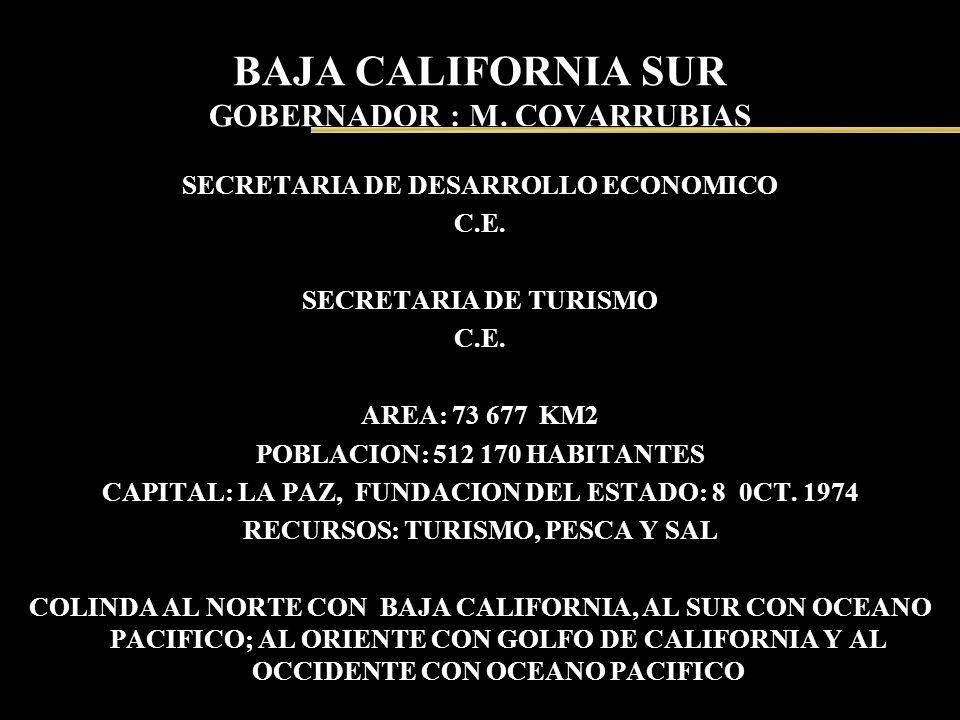 BAJA CALIFORNIA SUR GOBERNADOR : M. COVARRUBIAS