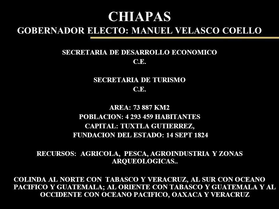 CHIAPAS GOBERNADOR ELECTO: MANUEL VELASCO COELLO