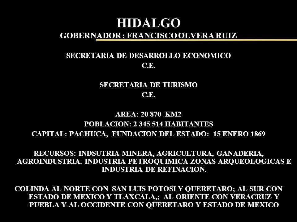 HIDALGO GOBERNADOR : FRANCISCO OLVERA RUIZ