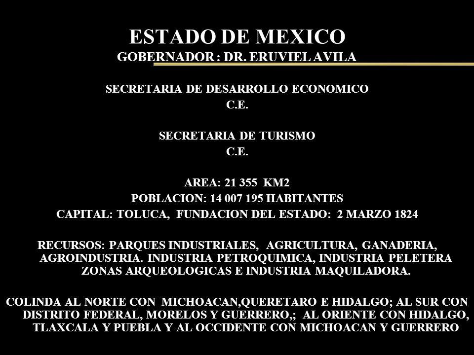 ESTADO DE MEXICO GOBERNADOR : DR. ERUVIEL AVILA