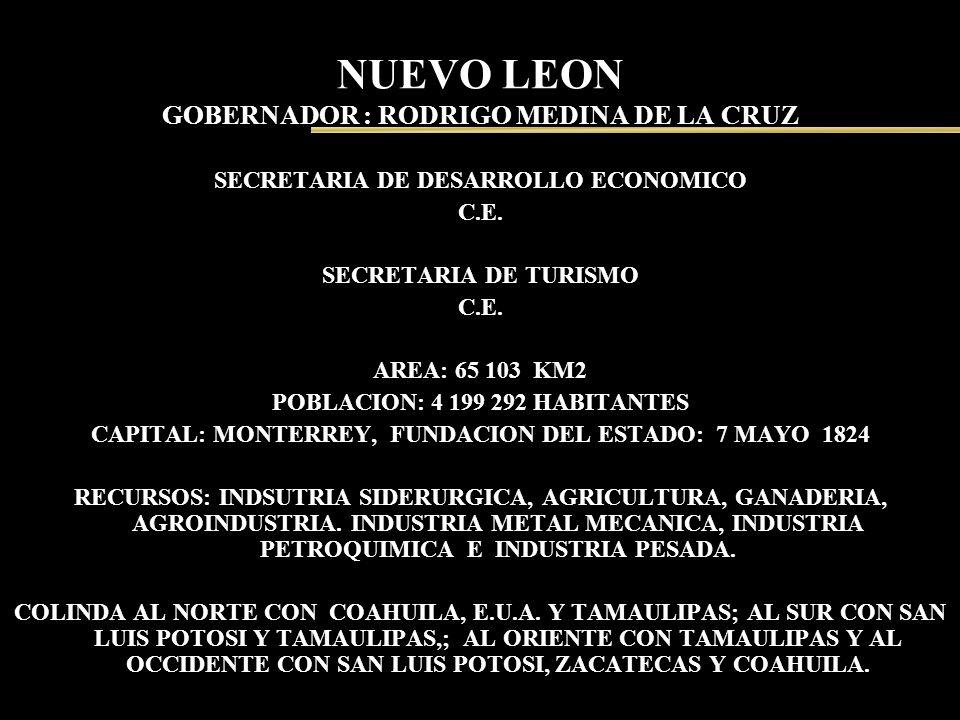 NUEVO LEON GOBERNADOR : RODRIGO MEDINA DE LA CRUZ