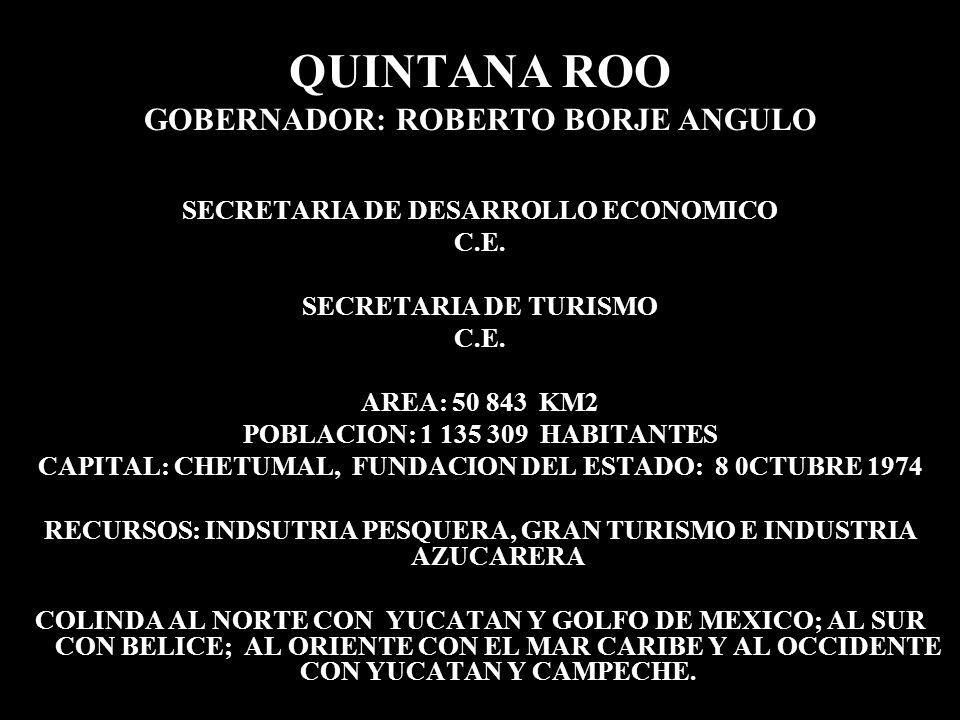 QUINTANA ROO GOBERNADOR: ROBERTO BORJE ANGULO