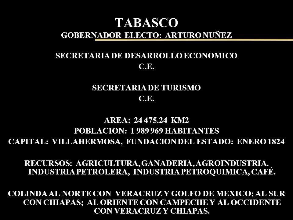 TABASCO GOBERNADOR ELECTO: ARTURO NUÑEZ