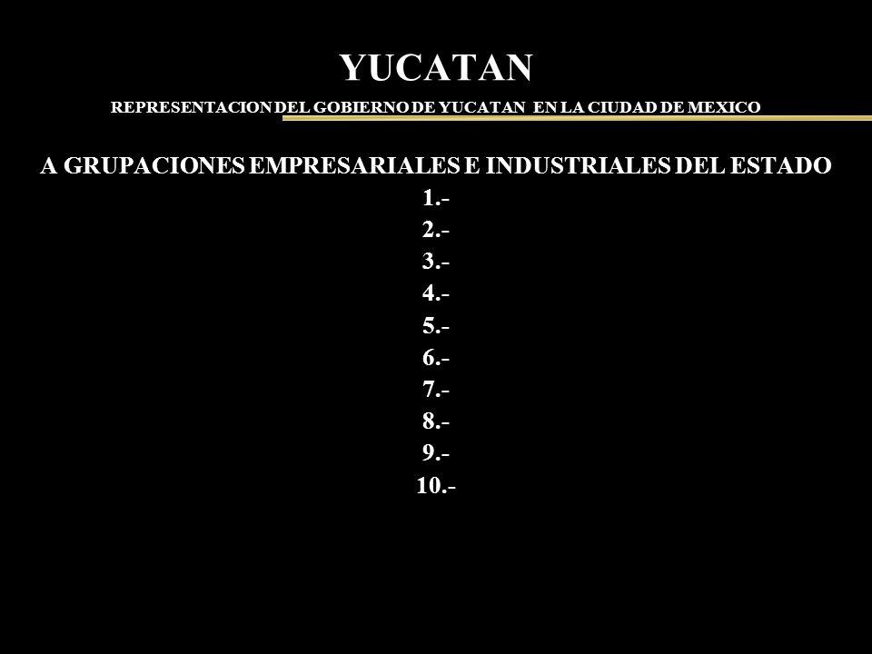 YUCATAN REPRESENTACION DEL GOBIERNO DE YUCATAN EN LA CIUDAD DE MEXICO