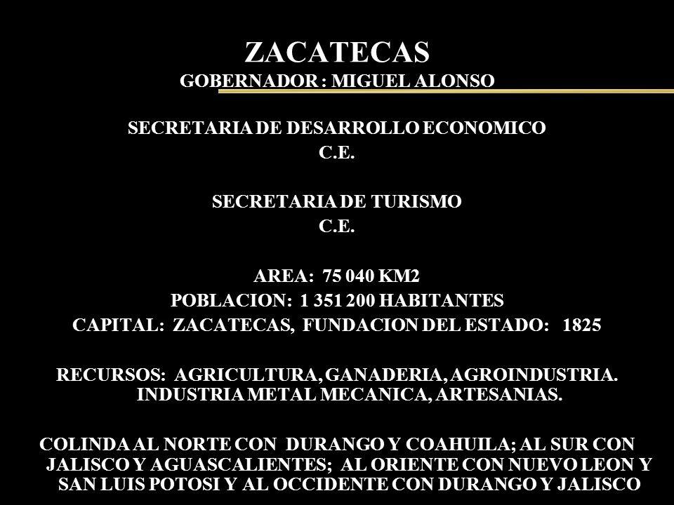 ZACATECAS GOBERNADOR : MIGUEL ALONSO