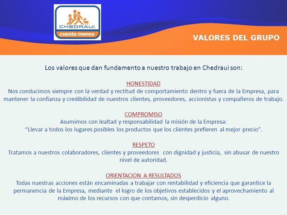 Los valores que dan fundamento a nuestro trabajo en Chedraui son: