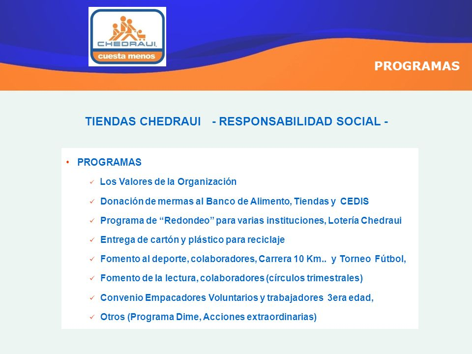 TIENDAS CHEDRAUI - RESPONSABILIDAD SOCIAL -