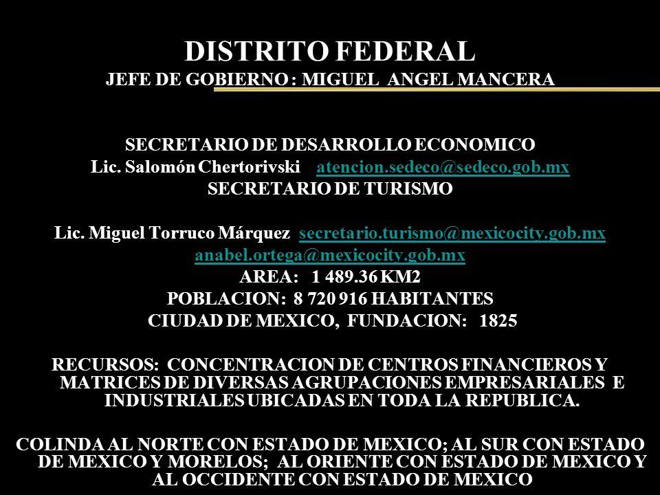 DISTRITO FEDERAL JEFE DE GOBIERNO : MIGUEL ANGEL MANCERA