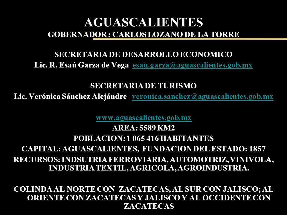 AGUASCALIENTES GOBERNADOR : CARLOS LOZANO DE LA TORRE