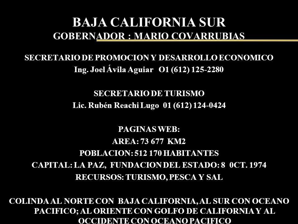BAJA CALIFORNIA SUR GOBERNADOR : MARIO COVARRUBIAS