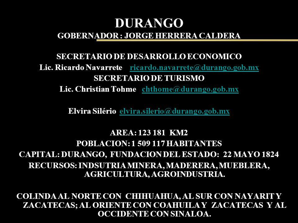 DURANGO GOBERNADOR : JORGE HERRERA CALDERA