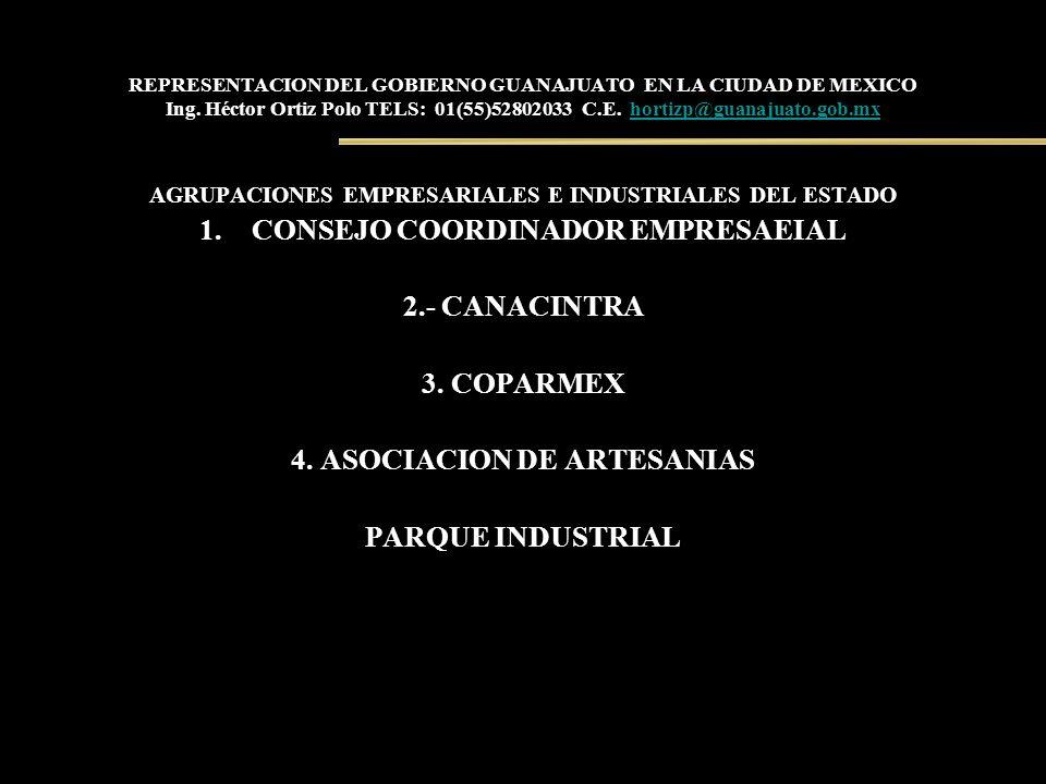 CONSEJO COORDINADOR EMPRESAEIAL 2.- CANACINTRA 3. COPARMEX