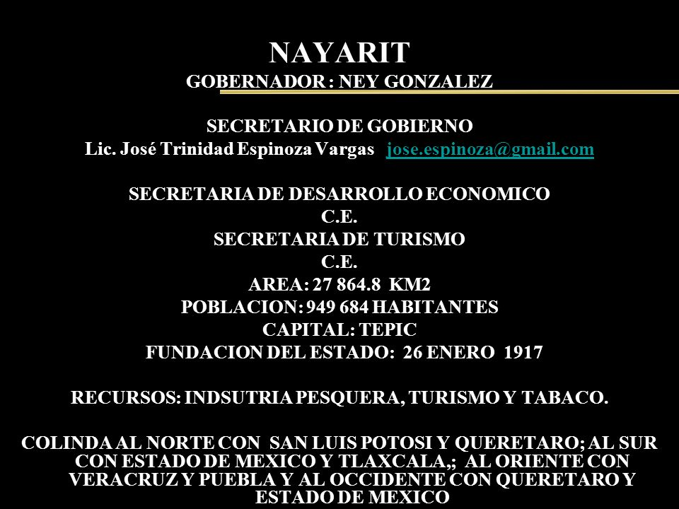 NAYARIT GOBERNADOR : NEY GONZALEZ
