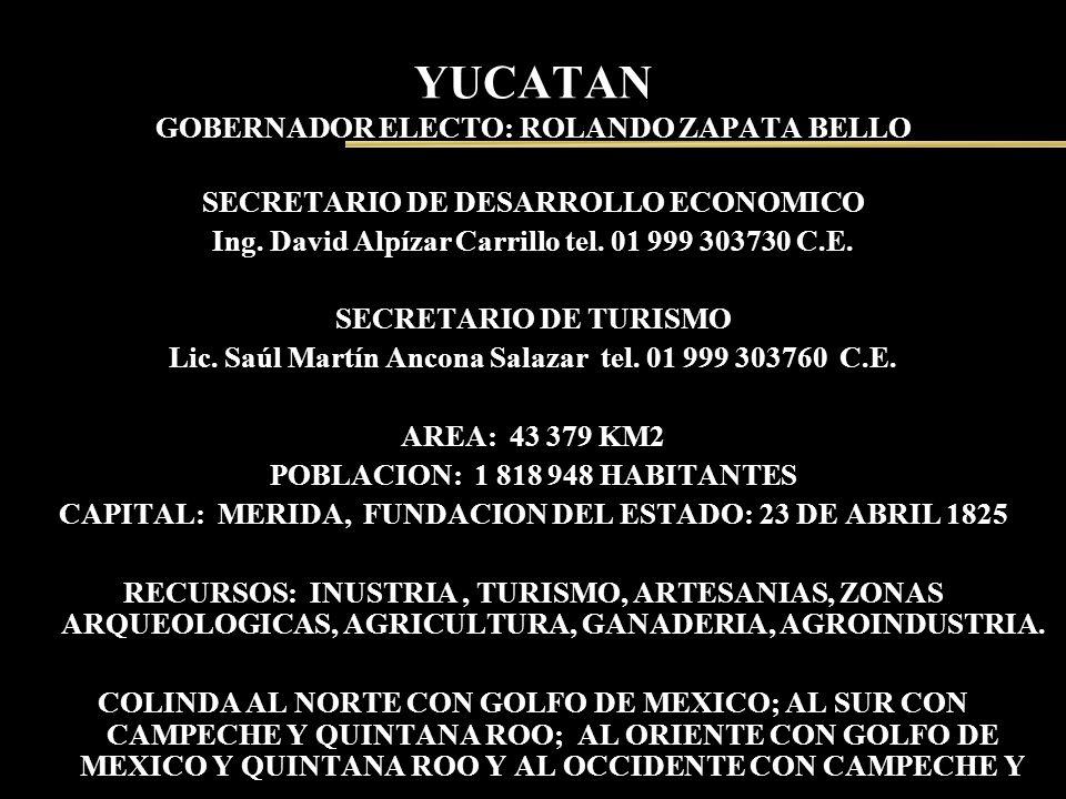 YUCATAN GOBERNADOR ELECTO: ROLANDO ZAPATA BELLO