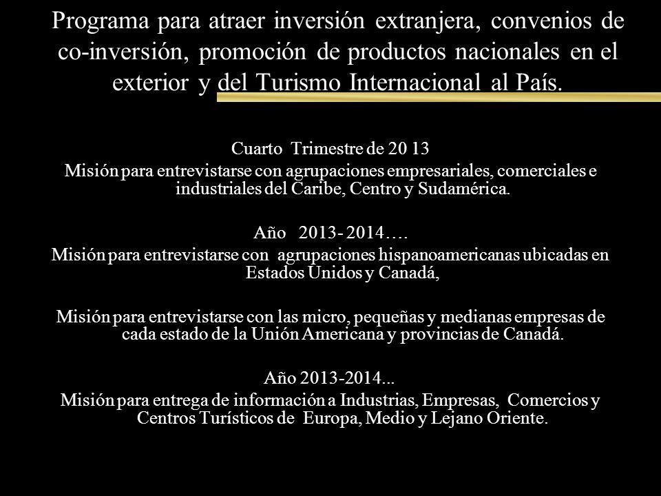 Programa para atraer inversión extranjera, convenios de co-inversión, promoción de productos nacionales en el exterior y del Turismo Internacional al País.