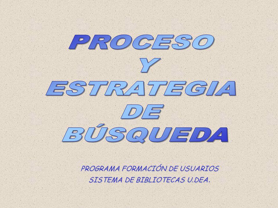 PROCESO Y ESTRATEGIA DE BÚSQUEDA PROGRAMA FORMACIÓN DE USUARIOS