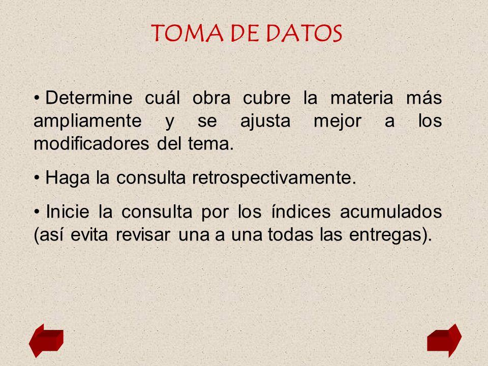 TOMA DE DATOS Determine cuál obra cubre la materia más ampliamente y se ajusta mejor a los modificadores del tema.