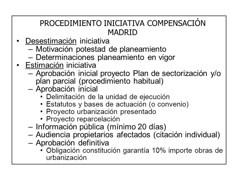 PROCEDIMIENTO INICIATIVA COMPENSACIÓN MADRID