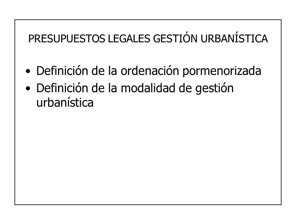 PRESUPUESTOS LEGALES GESTIÓN URBANÍSTICA