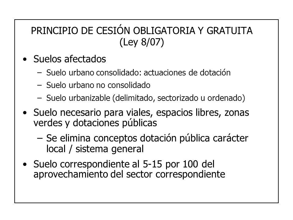 PRINCIPIO DE CESIÓN OBLIGATORIA Y GRATUITA (Ley 8/07)