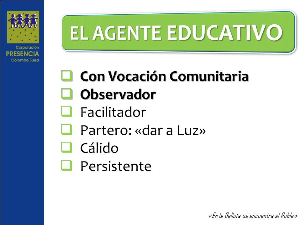 EL AGENTE EDUCATIVO Con Vocación Comunitaria Observador Facilitador