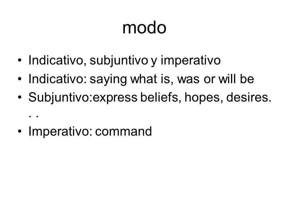 modo Indicativo, subjuntivo y imperativo
