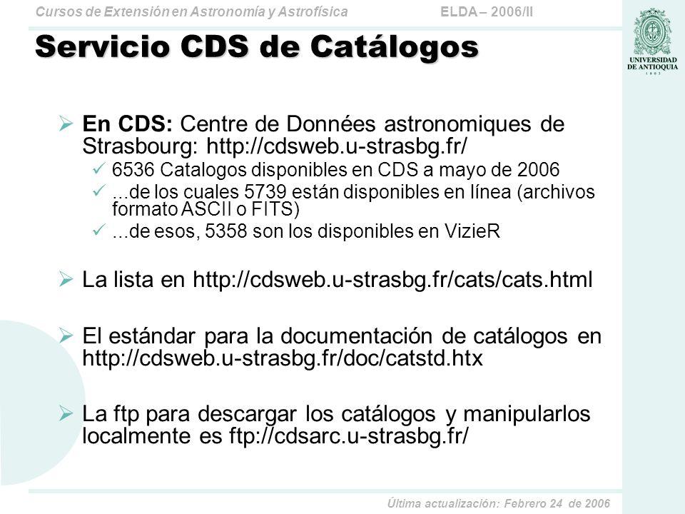 Servicio CDS de Catálogos