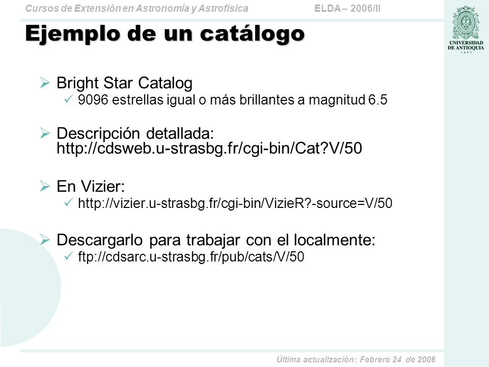 Ejemplo de un catálogo Bright Star Catalog
