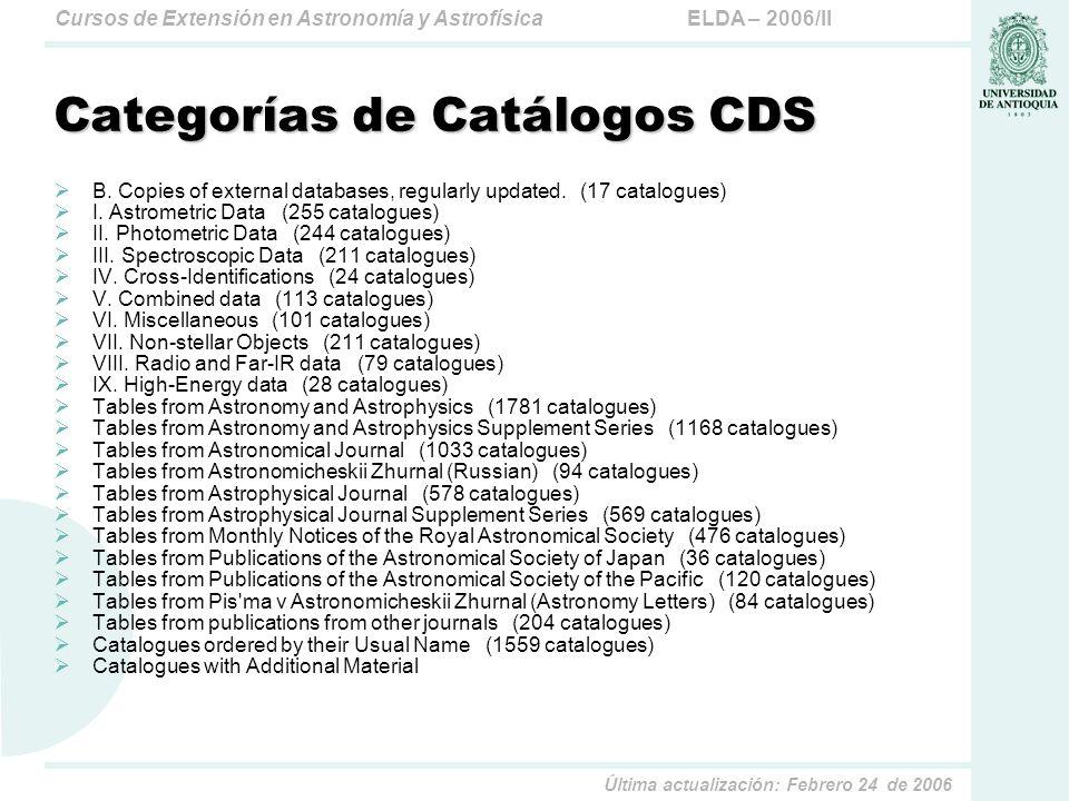 Categorías de Catálogos CDS