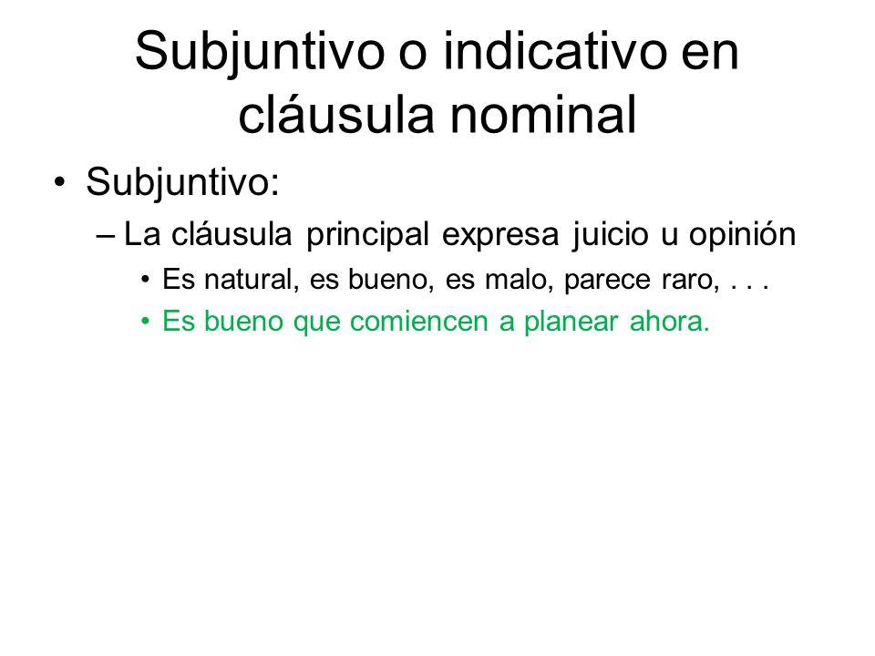 Subjuntivo o indicativo en cláusula nominal
