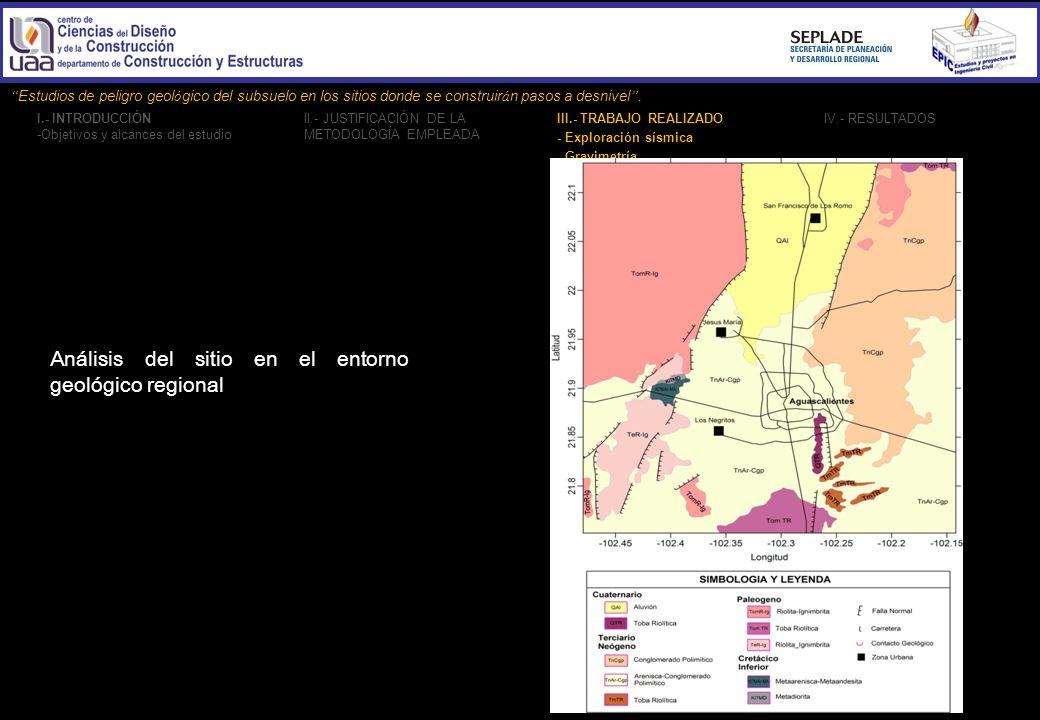Análisis del sitio en el entorno geológico regional