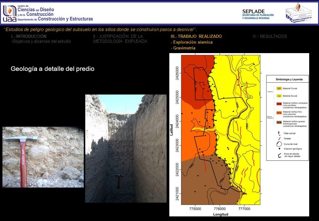 Geología a detalle del predio