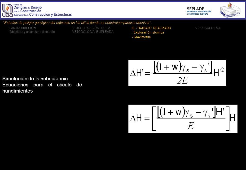 Simulación de la subsidencia Ecuaciones para el cáculo de hundimientos
