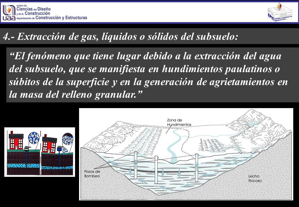 4.- Extracción de gas, líquidos o sólidos del subsuelo: