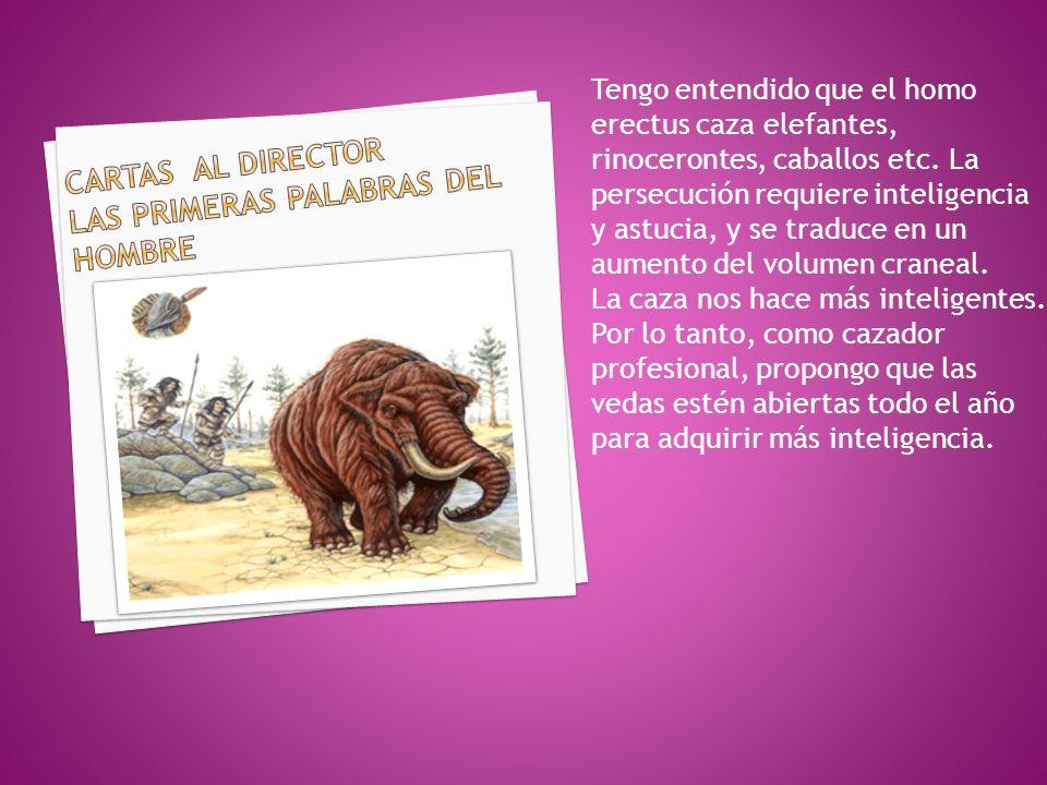 CARTAS AL DIRECTOR LAS PRIMERAS PALABRAS DEL HOMBRE