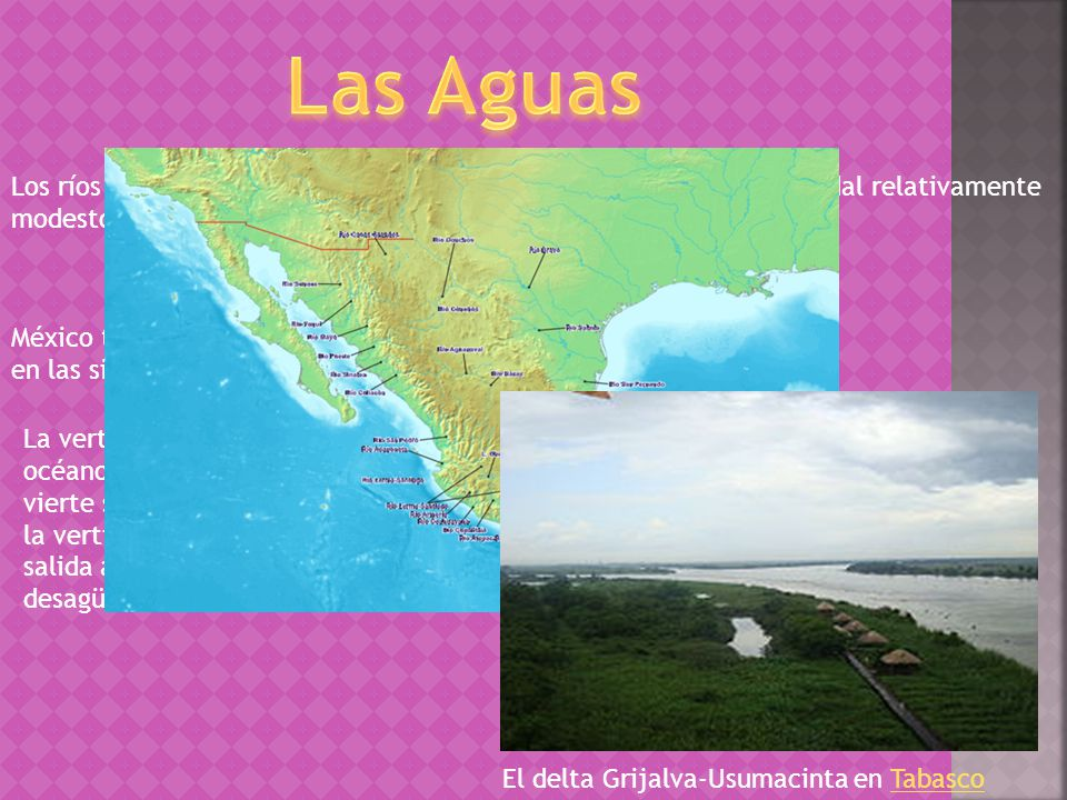 Las Aguas Los ríos mexicanos son en general cortos, innavegables y con un caudal relativamente modesto.