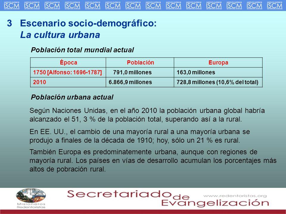 3 Escenario socio-demográfico: La cultura urbana