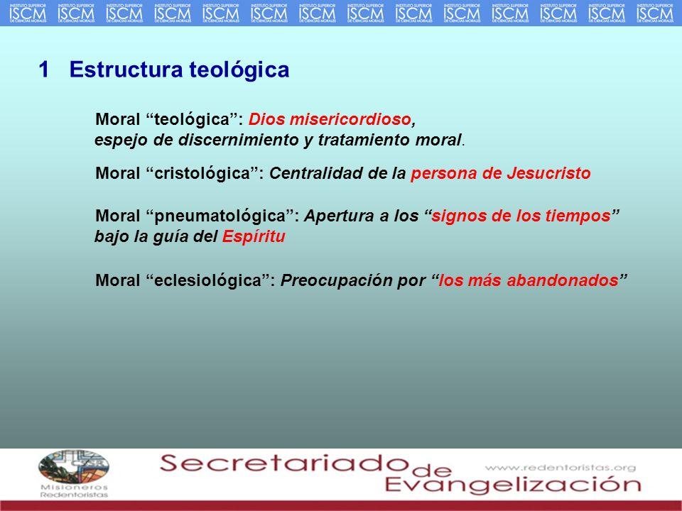 1 Estructura teológica Moral teológica : Dios misericordioso, espejo de discernimiento y tratamiento moral.
