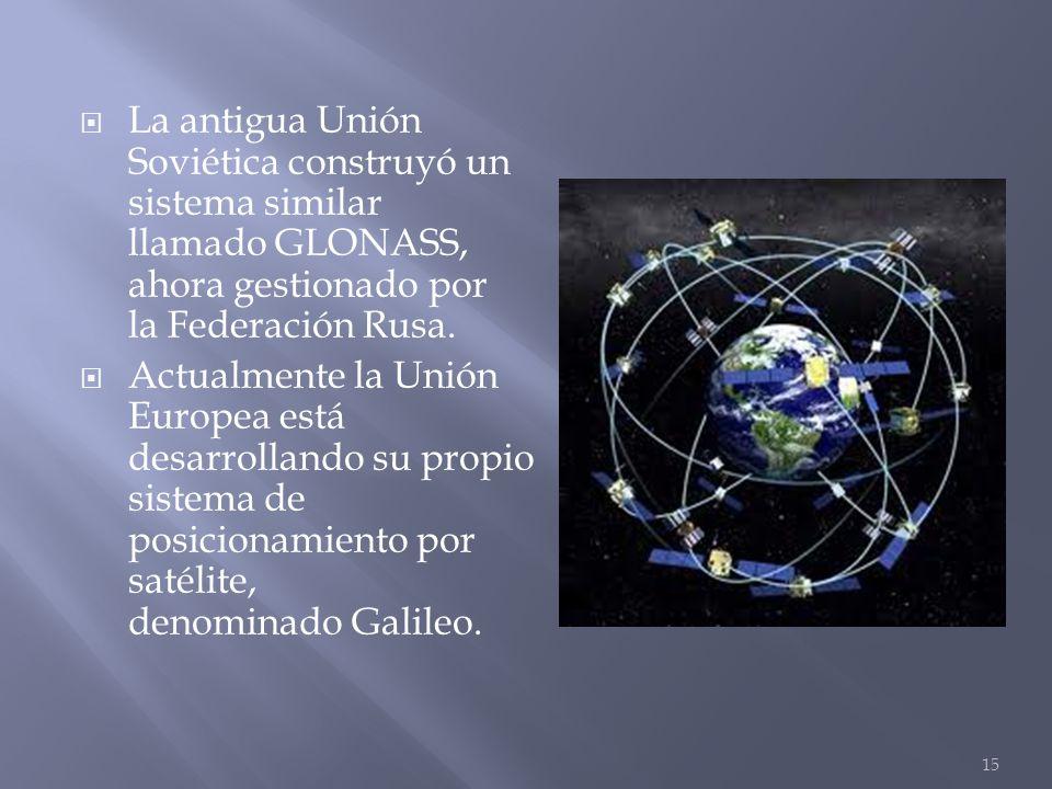 La antigua Unión Soviética construyó un sistema similar llamado GLONASS, ahora gestionado por la Federación Rusa.