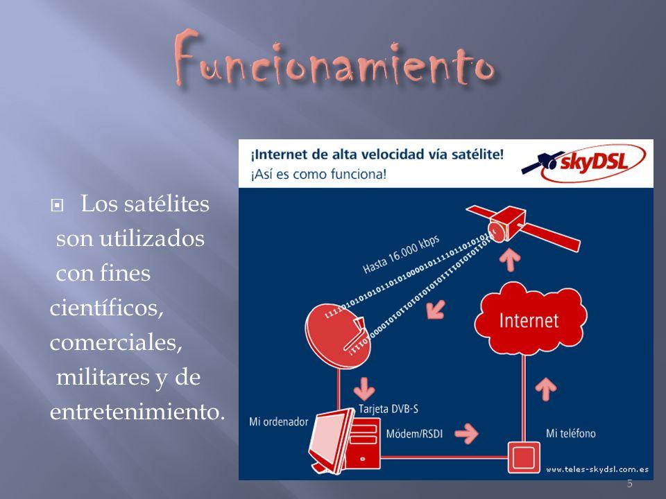 Funcionamiento Los satélites son utilizados con fines científicos,