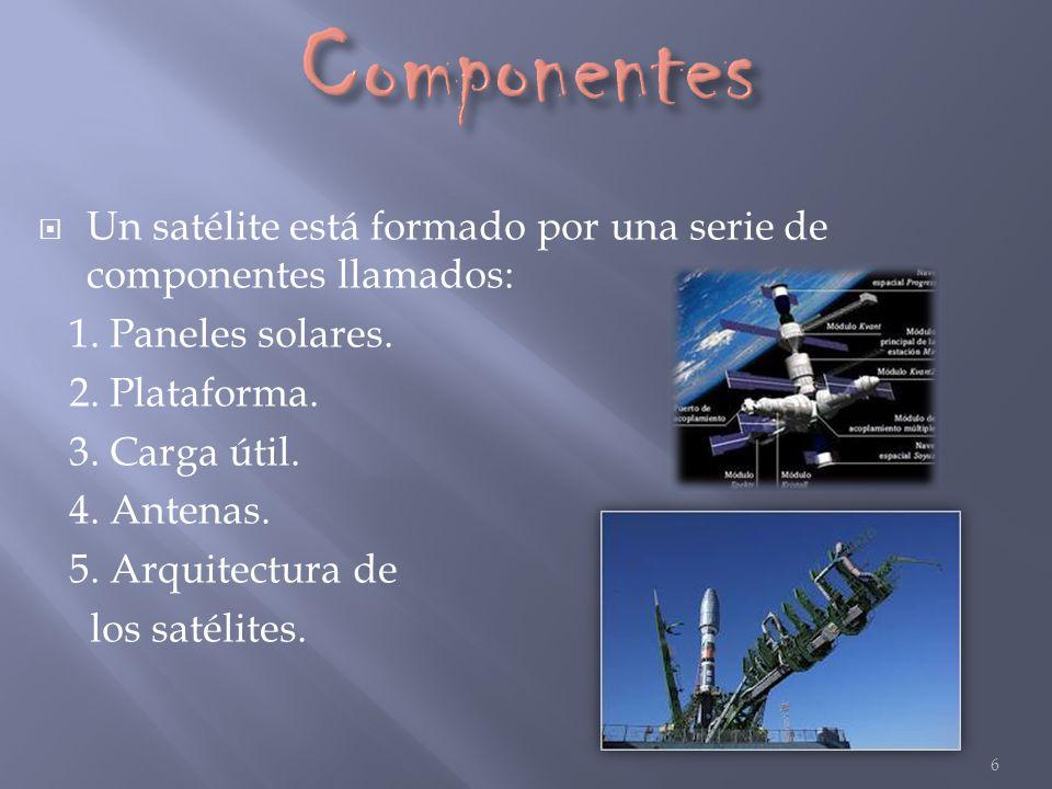 Componentes Un satélite está formado por una serie de componentes llamados: 1. Paneles solares. 2. Plataforma.