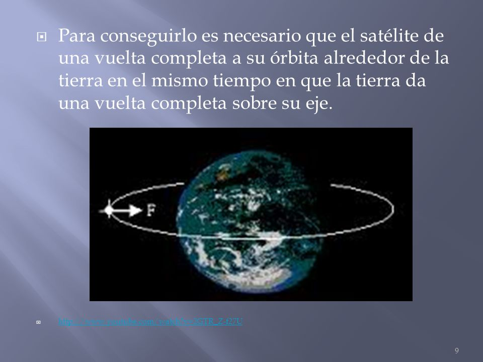 Para conseguirlo es necesario que el satélite de una vuelta completa a su órbita alrededor de la tierra en el mismo tiempo en que la tierra da una vuelta completa sobre su eje.