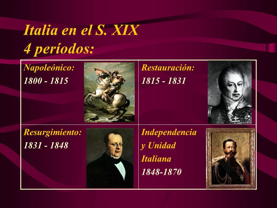 Italia en el S. XIX 4 períodos: