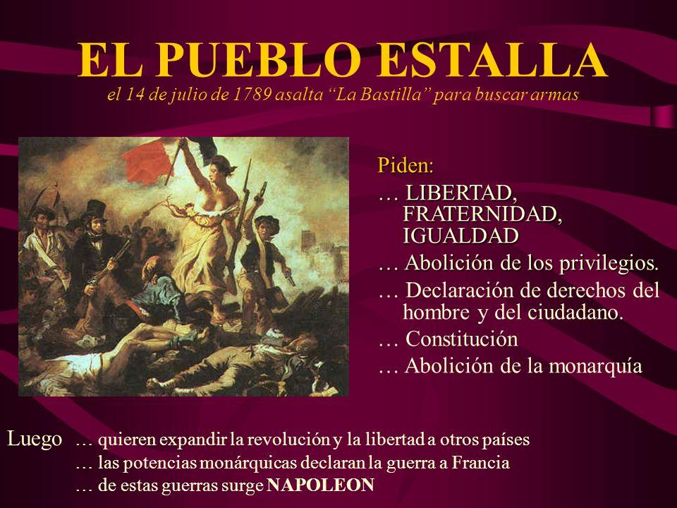 EL PUEBLO ESTALLA el 14 de julio de 1789 asalta La Bastilla para buscar armas